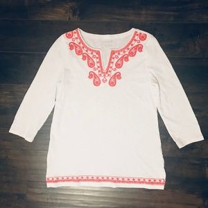 Talbots Embroidered Sleeve Tunic Top